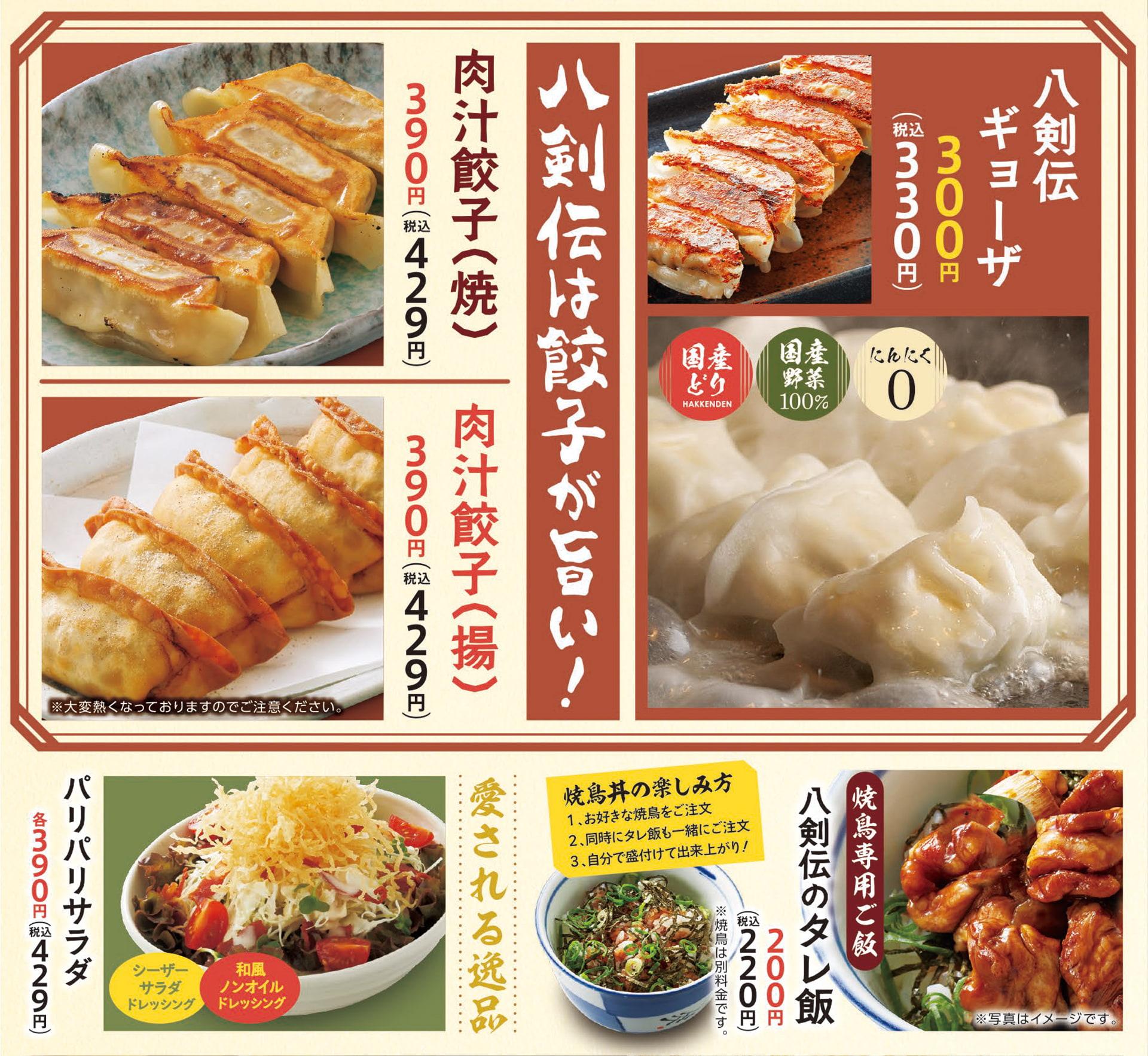 八剣伝 餃子・サラダ