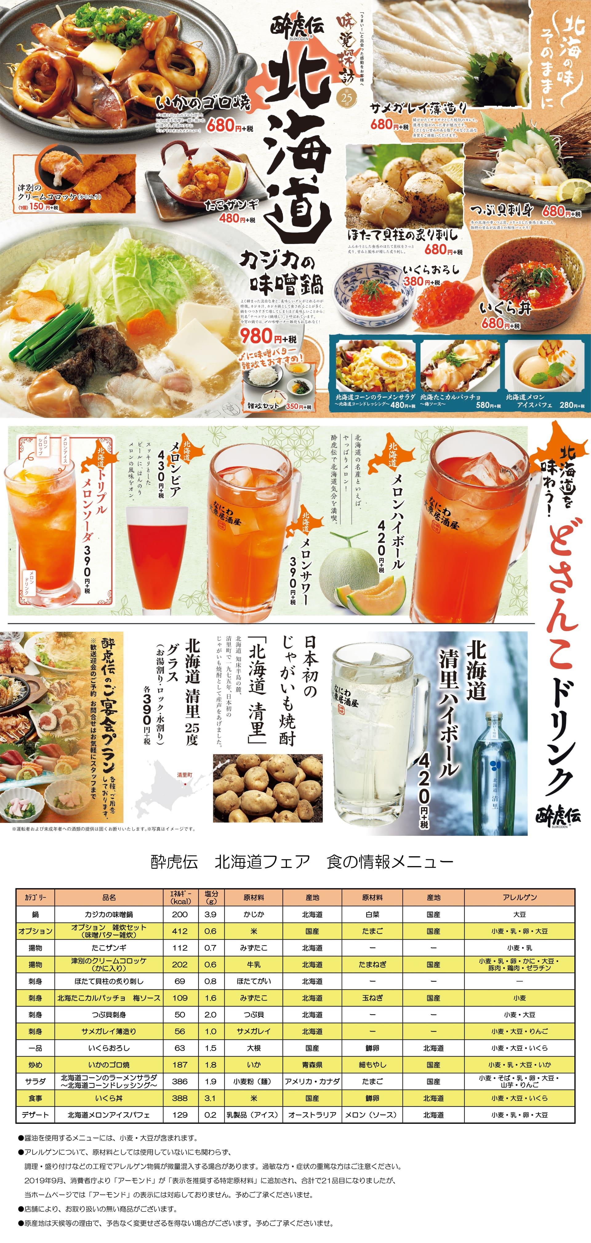 酔虎伝「味覚探訪第25弾-北海道-」